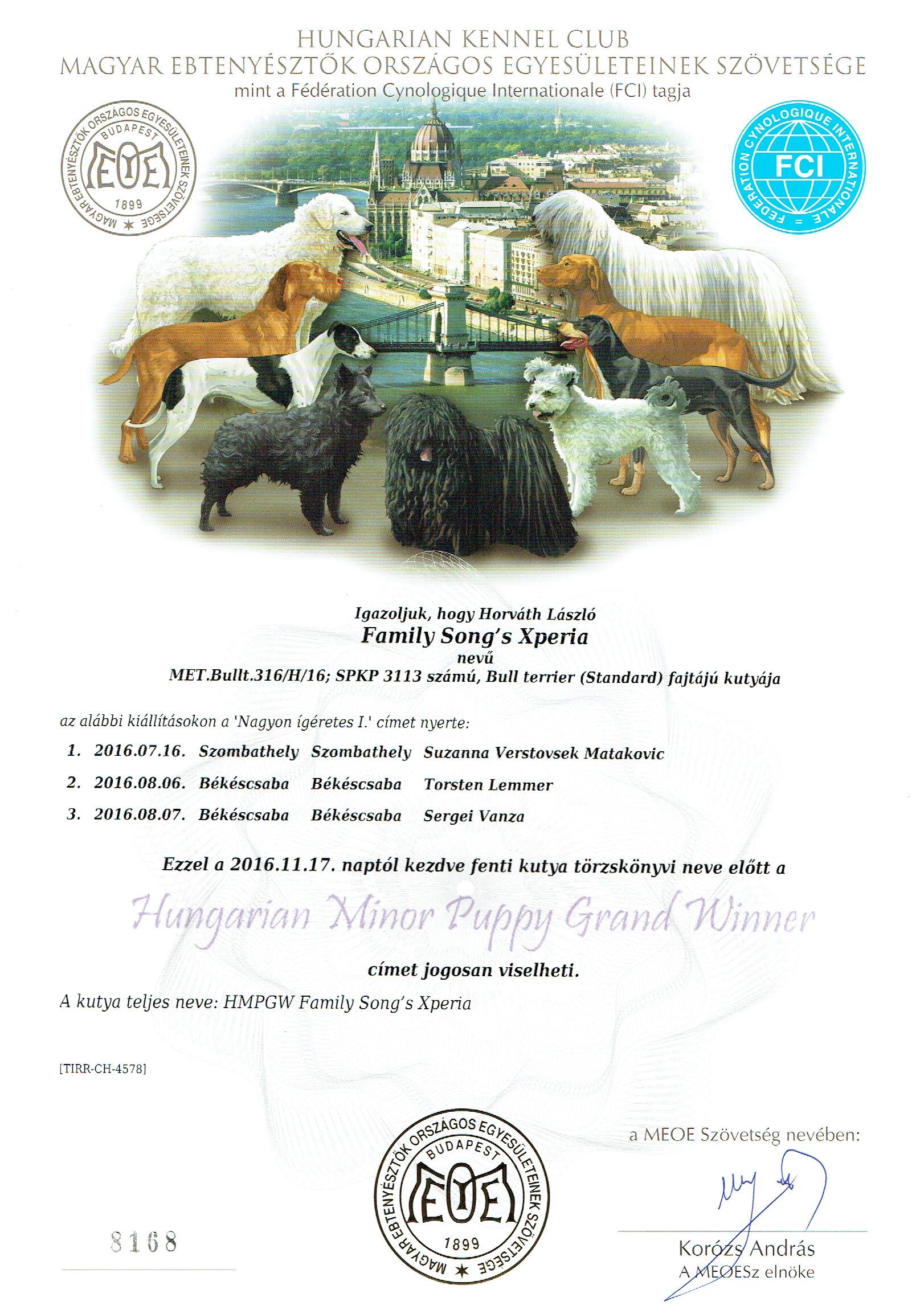Hungarian Minor Puppy Grand Winner - Citrom